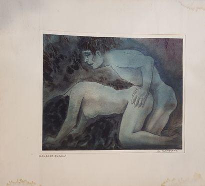 SOTERAS Georges (1917-1990)  Levrette,  gouache...