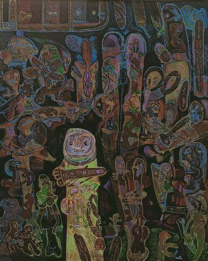 MURUA Mario (né en 1952)  Totem, 90  Peinture...