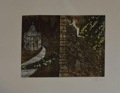 BO Lars (1924-1999)    Le mur,  Lithographie sur papier signé en bas à droite au...