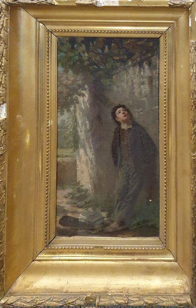 BERNARD P. (XIXème)  Le petit écolier  Huile...