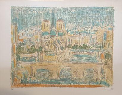 COTTAVOZ André (1922-2012)  Notre Dame de Paris, 1985  Lithographie signée et datée...