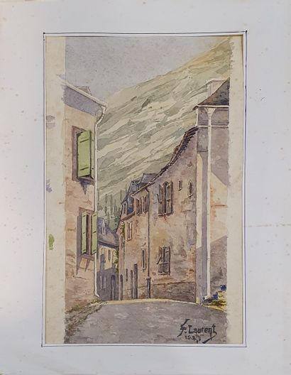 LAURENT F (XIX-XX)      Rue de village en...