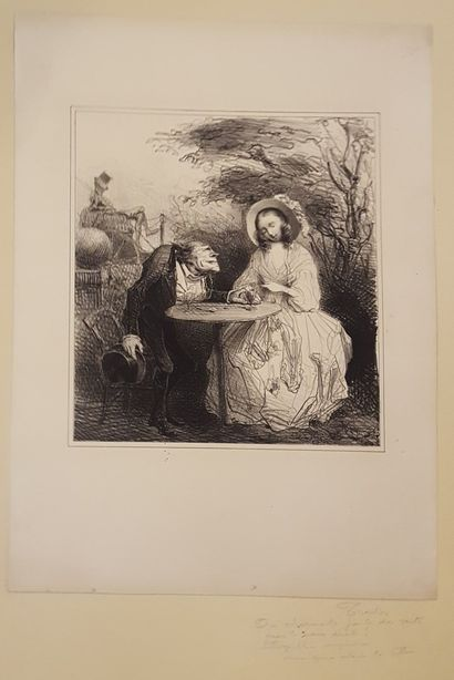 TRAVIES Edouard (1809-1869)  le couple  Lithographie...