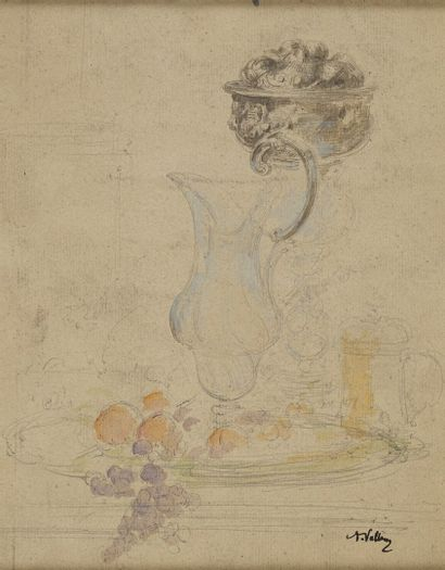 VOLLON Antoine, 1833-1900  Aiguière et fruits...