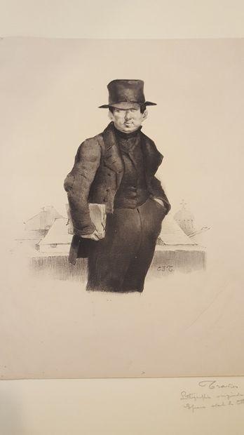 TRAVIES Edouard (1809-1869)  scène de taverne...