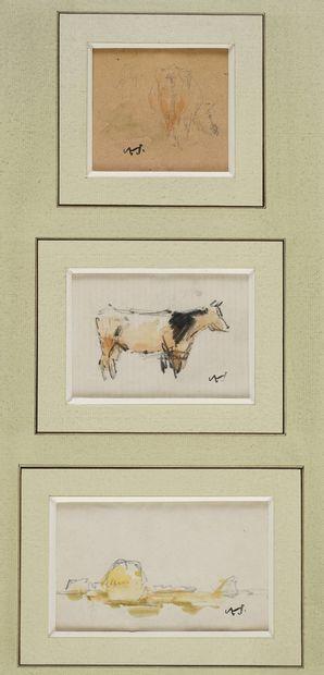 VOLLON Antoine, 1833-1900  Vaches et meules...