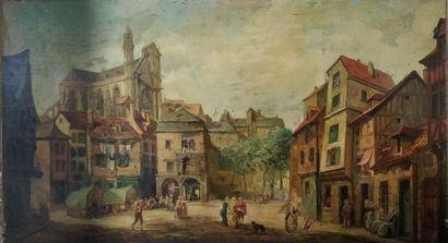 ECOLE XIXeme siècle  place de l'église  Huile...