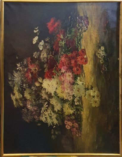 GILBERT E (XIX-XXeme)  Brassée de chrysanthèmes...