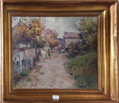 ÉCOLE MODERNE,  Le village,  huile sur toile...
