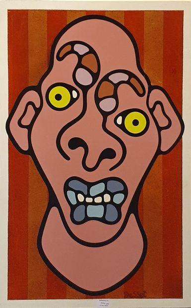 DESSET Jean-Luc (né en 1974)  Visage  peinture...