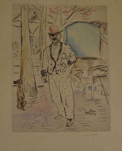 LAUNOIS Jean (1898-1942)  Elégant au jardin,...