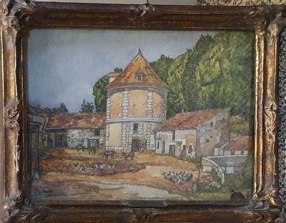 DELESTRE Eugène (1862-1919)  Cour de ferme...