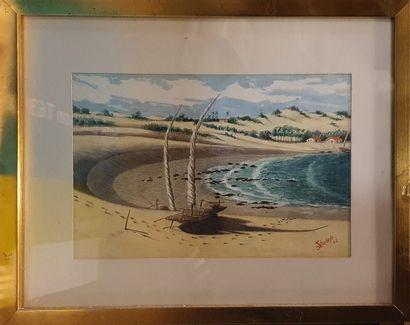 BARBOSA JS (XIX-XXeme)  Plage, 1965  Aquarelle...