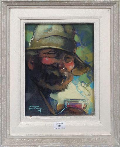 FORTUNEY Louis (1875-1951)  Le Buveur,  Pastel...