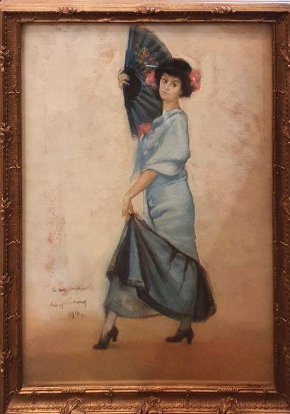 ECOLE ESPAGNOLE  Danseuse de flamenco,  Pastel,...
