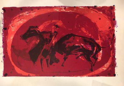 BRUSSET Paul (1909-1985)  Lot de cinq lithographies,    - Composition violette sur...