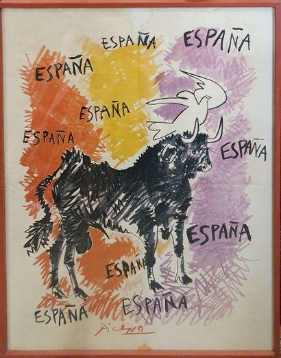 PICASSO Pablo, d'après  España  Affiche offset...