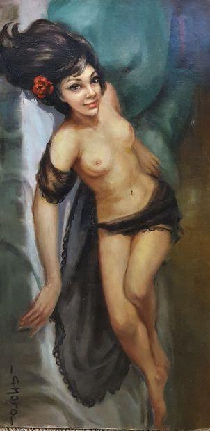 MORO G. (1901-1977)  Femme allanguie,  Huile...