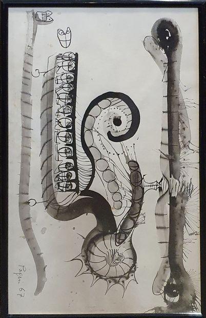 PAPIN (XX-XXIeme)  Composition, 1967  Lavis...