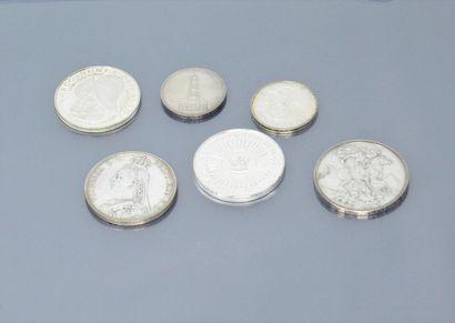 Lot de 6 pièces en argent comprenant :  -...