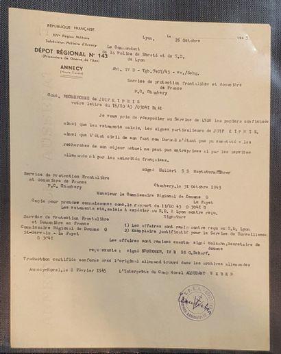 Un dossier seconde guerre mondiale, traque d'un couple d'israélites à Chamonix à...