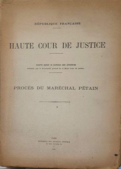 PETAIN. République Française. Haute Cour...