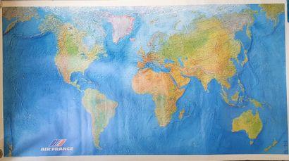 AIR FRANCE  Planisphère figurant les liaisons...