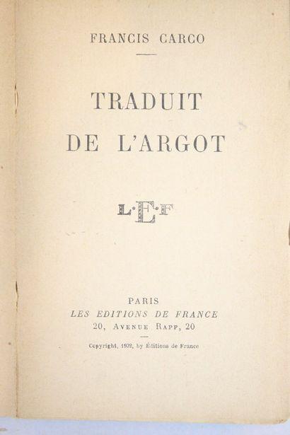 CARCO Francis  Traduit de l'argot. Les éditions...