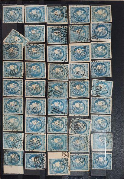 émission de Bordeaux  Lot 20 centimes bleu (n° 46).  Type III R1 et R2, quatre-vingt-neuf...