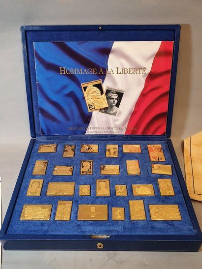 Hommage à la Liberté - Collection du Bicentenaire,  coffret contenant 25 timbres...