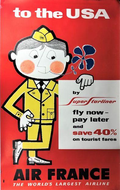 AIR FRANCE  Affiche d'ap. IVAN, sbg.