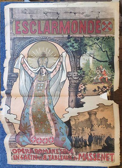 Lot de neuf affiches en MAUVAIS état : plis,...