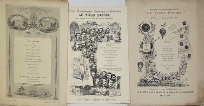 Sept MENUS imprimés et illustrés de la Société...