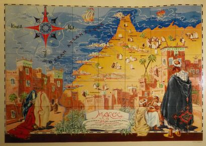 MAROC  Affiche d'ap. Gabriel CARRIAT-ROLANT,...