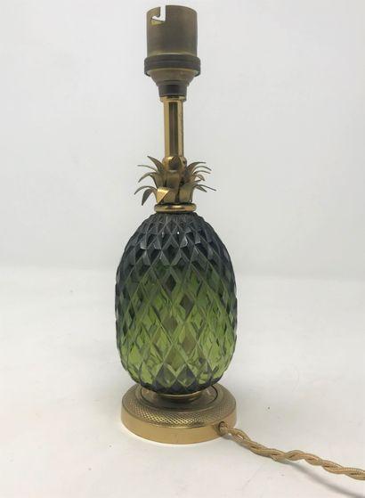 Petite lampe ananas, corps en verre pressé...