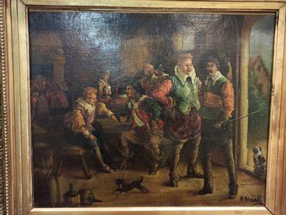 BREVELLE H (XIX-XX)  Scène de taverne,  huile...