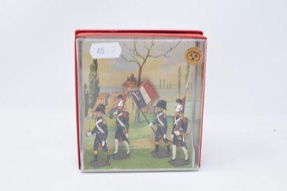 CBG Ronde Bosse : Quatre petits dioramas sous blister représentant quatre personnages...