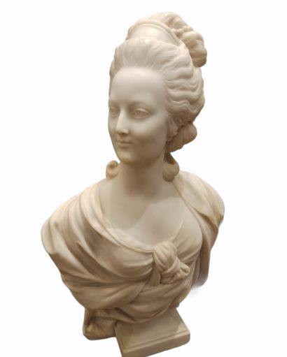 Buste en marbre représentant Marie-Antoinette,...