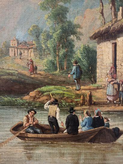 Ecole du XIXème siècle Barque en bordrivière...