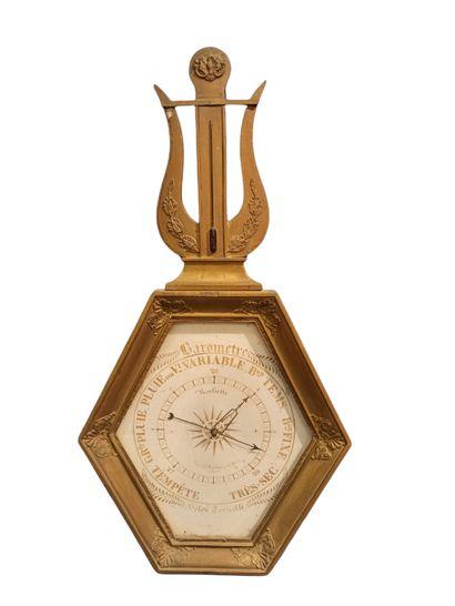 Baromètre, selon Torricelli, en bois doré...