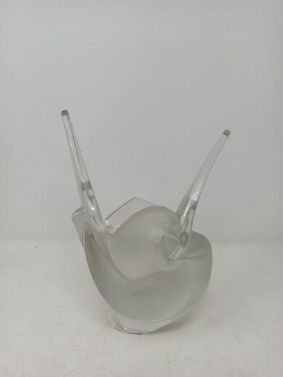 LALIQUE France  Vase avec élément pique-fleurs...