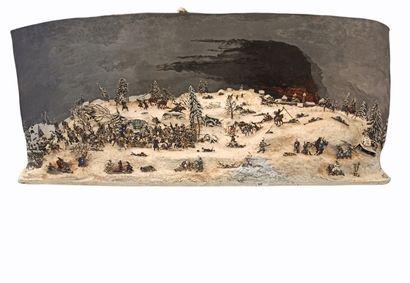 Diorama constitué de figurines plats d'étain...