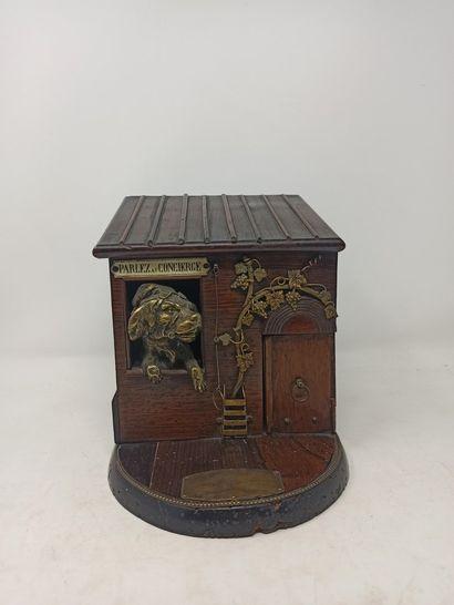 Rare boîte à cigares automate en bois et...