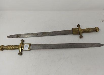 Deux glaives d'Infanterie, modèle 1831. Monture...