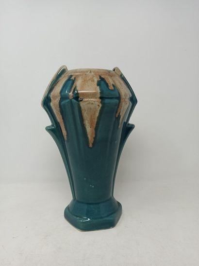Vase en faïence dans le style art déco  émaillage...