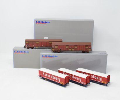 LS MODELS : Coffret wagons BRASSEUR KRONENBOURG EVS, réf. 30666 - wagons couverts...
