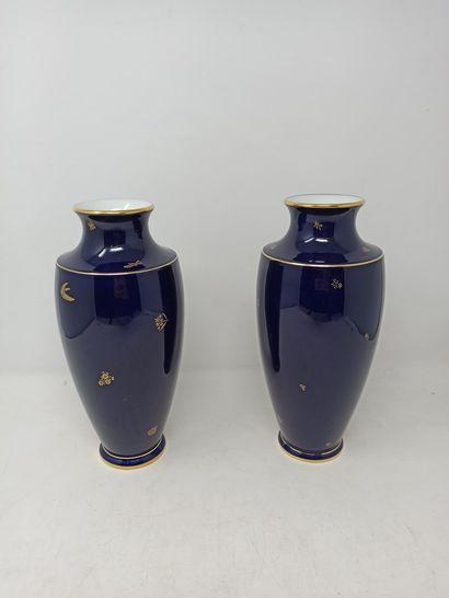 SEVRES  Paire de vases bleu de four à décor...