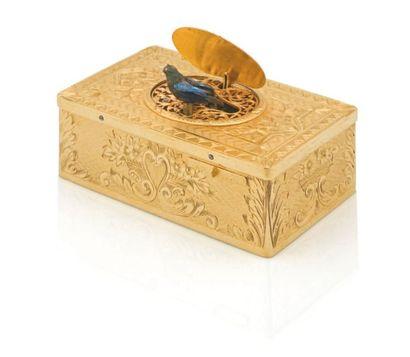 Boîte à oiseau chanteur en métal doré, de...