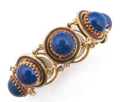 Bracelet en or jaune formé de sept maillons,...
