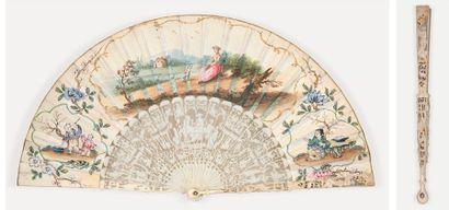 L'enfance de Bacchus Eventail, la feuille en vélin peint à la gouache en faux sfumato...